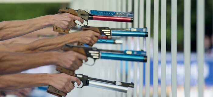 Sports laser gun, pentathlon weapons. Recognized high-quality weapons for sport shooting. Participate in competitions - are used.